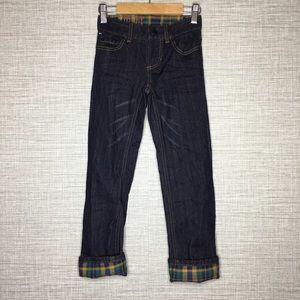 Tommy Hilfiger Boys Sz 5  Plaid Cuffed Jeans